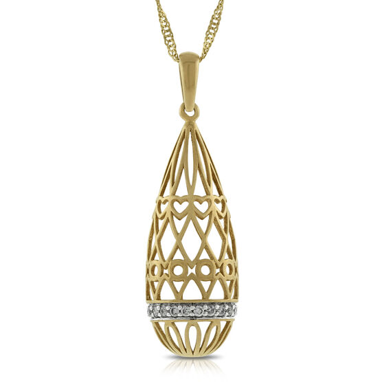 Filigree Drop Diamond Pendant 14K