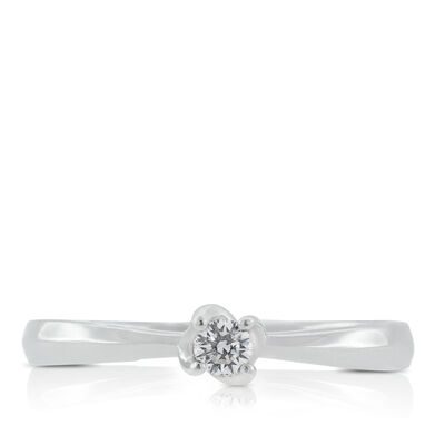 Diamond Twist Solitaire Ring 14K