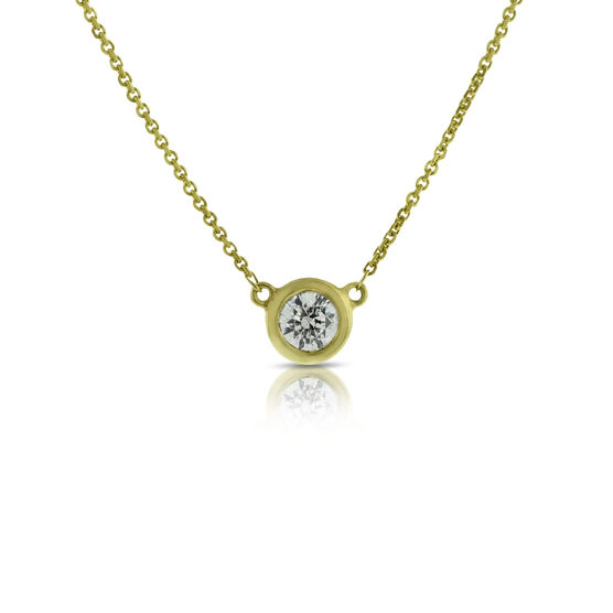Bezel Set Solitaire Diamond Necklace 14K