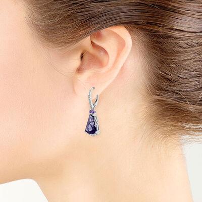 Fancy Baguette Blue Quartz, Amethyst & Diamond Earrings 14K