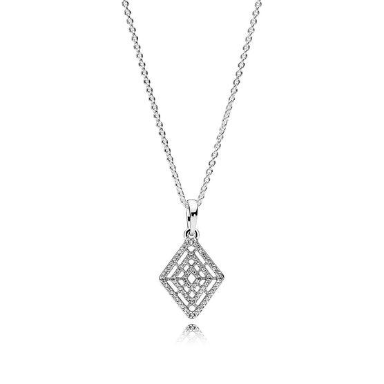 PANDORA Geometric Lines CZ Necklace & Pendant