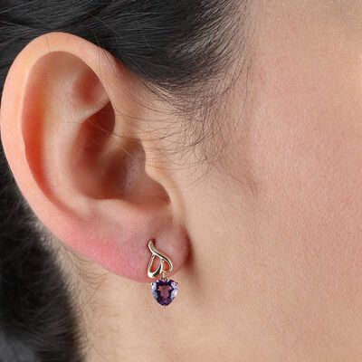 Amethyst Heart Earrings 14K