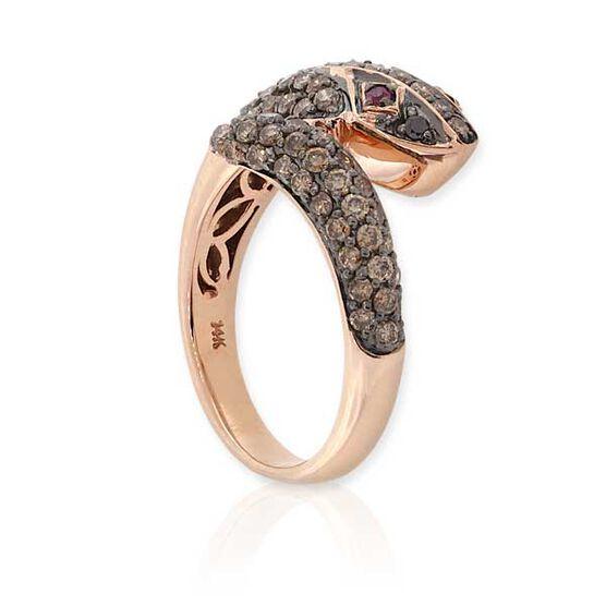Rose Gold, Diamond & Ruby Snake Ring 14K