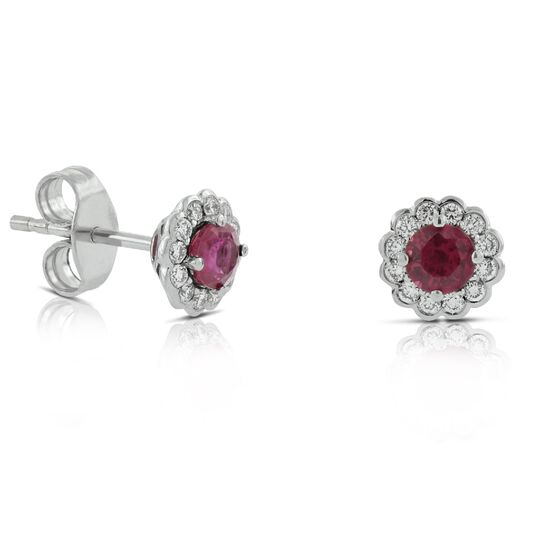 Ruby & Diamond Halo Earrings 14K