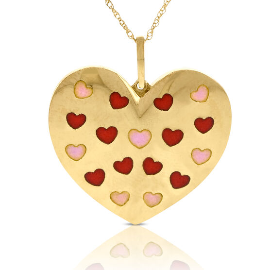 Enameled Heart Pendant 14K