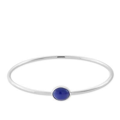 Lisa Bridge Deep Blue Chalcedony Bangle Bracelet