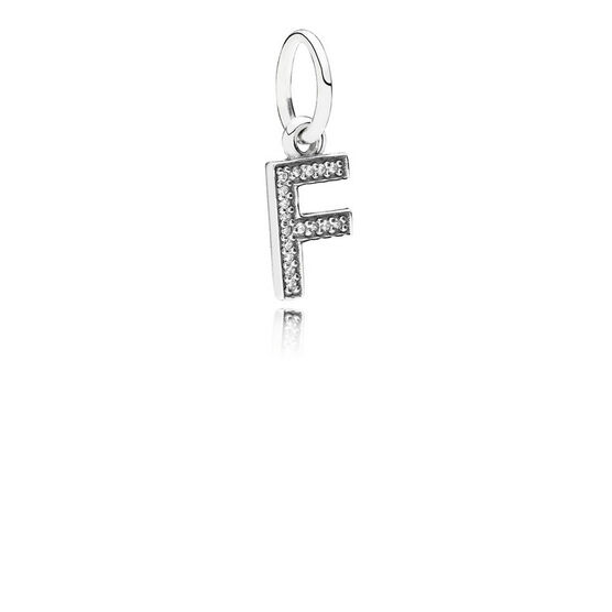 PANDORA CZ Dangle 'F' Charm