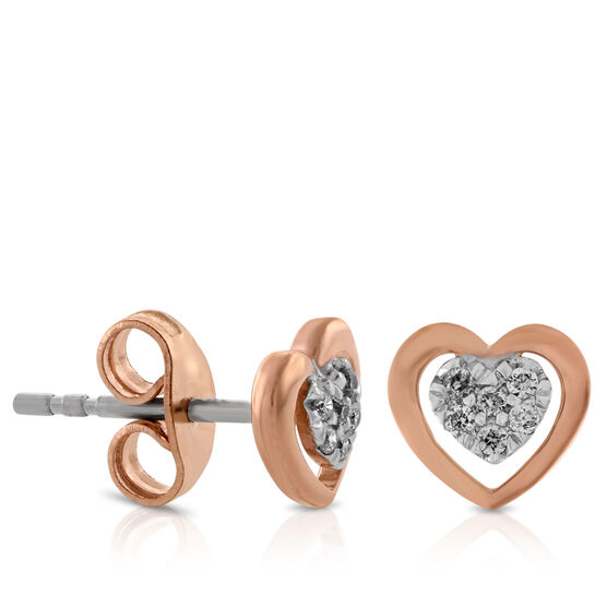 Diamond Heart Earrings 14K