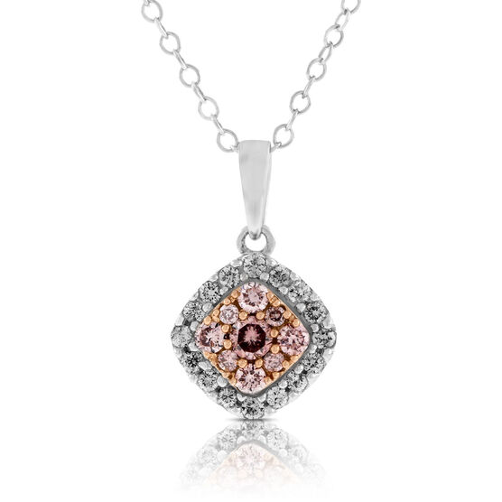 Pink & White Diamond Pendant 14K