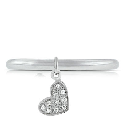 Diamond Heart Dangle Ring 14K