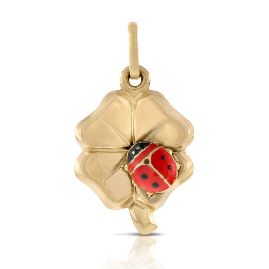 Clover & Ladybug Charm / Pendant 14K