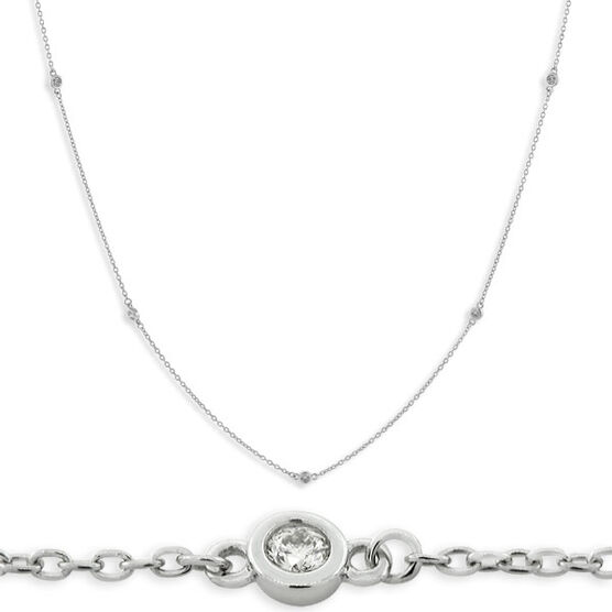 Diamond Necklace in Sterling Silver, 18""