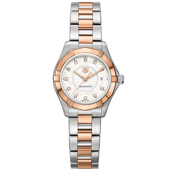 TAG Heuer Aquaracer Lady Steel & Rose Diamond Bezel Watch