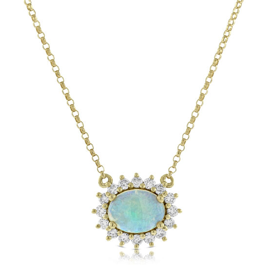 Opal & Diamond Necklace 14K