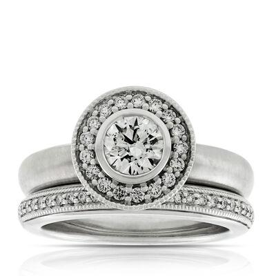 diamond halo wedding set 14k - Modern Wedding Rings