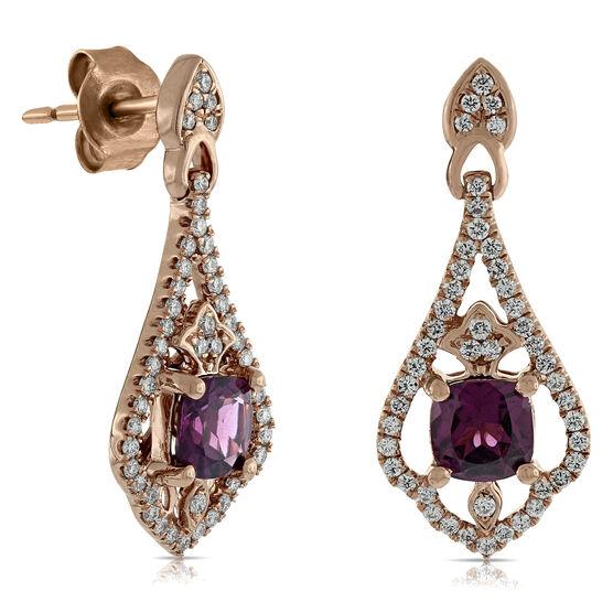 Rhodolite & Diamond Earrings 14K Rose Gold