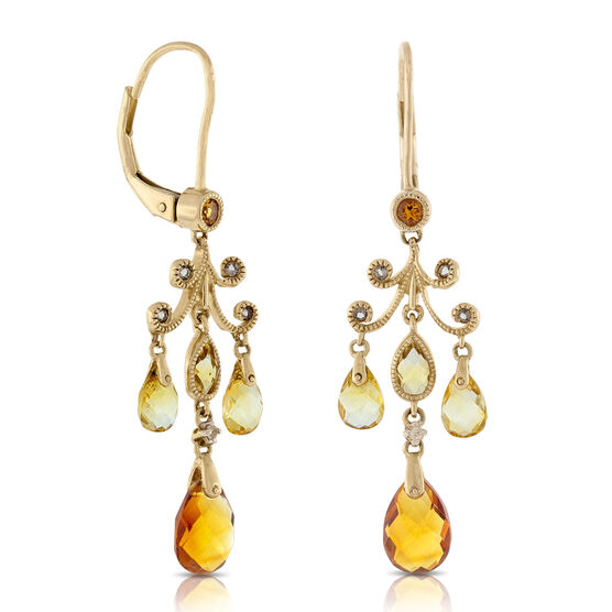 Citrine & Smoky Quartz Chandelier Earrings 14K