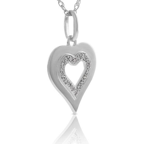 Diamond Heart Pendant in Sterling Silver