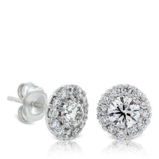 Diamond Halo Cupcake earrings 1 & 1/2ct, 14K