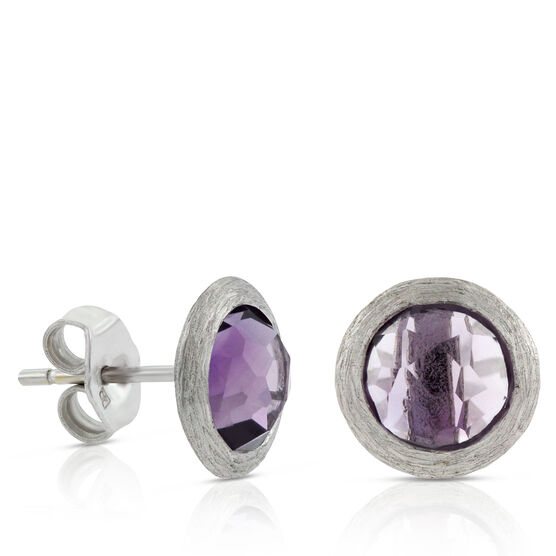 Mixed Cut Round Amethyst Earrings 14K