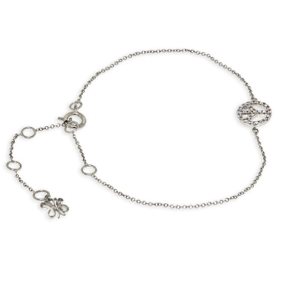 Tiny Peace Sign Diamond Bracelet 14K