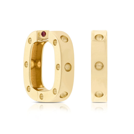 Roberto Coin Square Hoop Earrings 18K