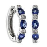 Sapphire & Diamond Hoop Earrings 14K
