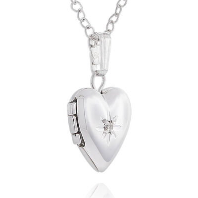 Baby Heart Diamond Locket in Sterling Silver