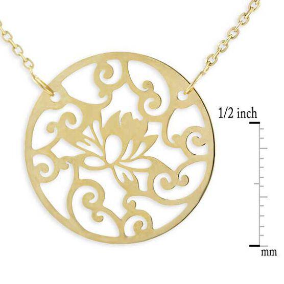 Open Design Waterlily Necklace 14K