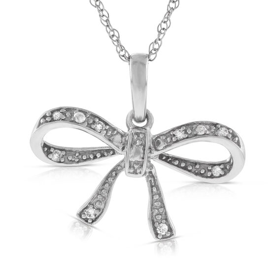 Diamond Bow Pendant 14K