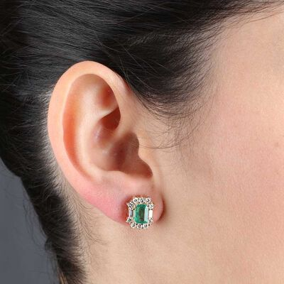 Emerald Cut Emerald & Diamond Earrings 14K