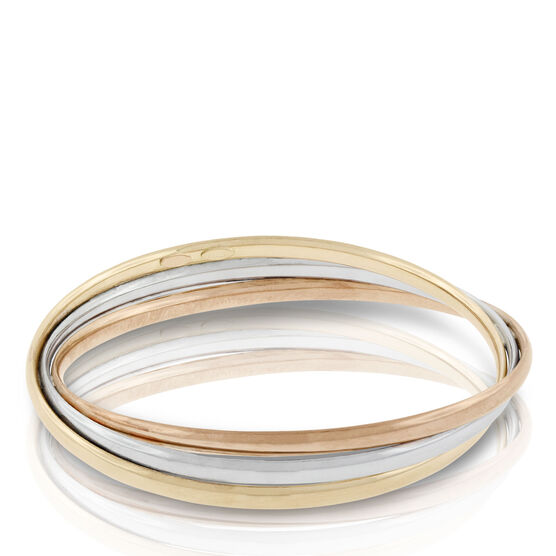 Toscano Tri-Color Twisted Bangle Bracelet 18K