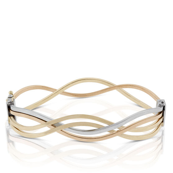 Toscano Collection Tricolor Wave Bangle Bracelet 18K