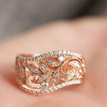 Rose Gold Filigree Floral Diamond Ring 14K