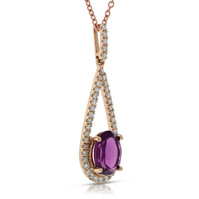 Rose Gold Rhodolite Garnet & Diamond Pendant 14K