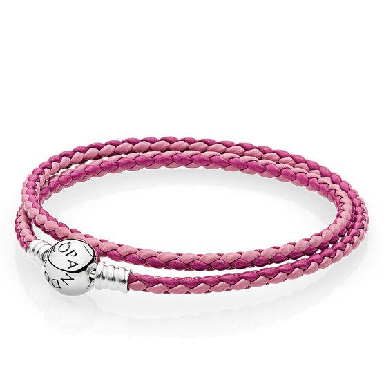 PANDORA  Mixed Pink Double Leather Bracelet