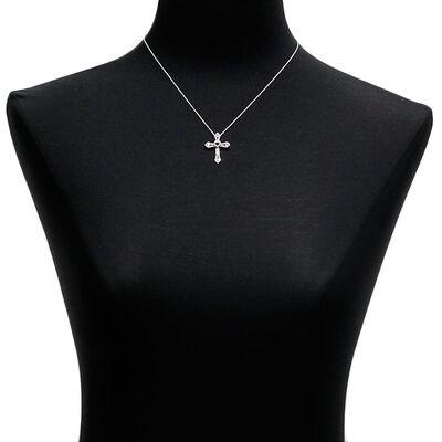 Garnet & Diamond Cross Pendant 14K