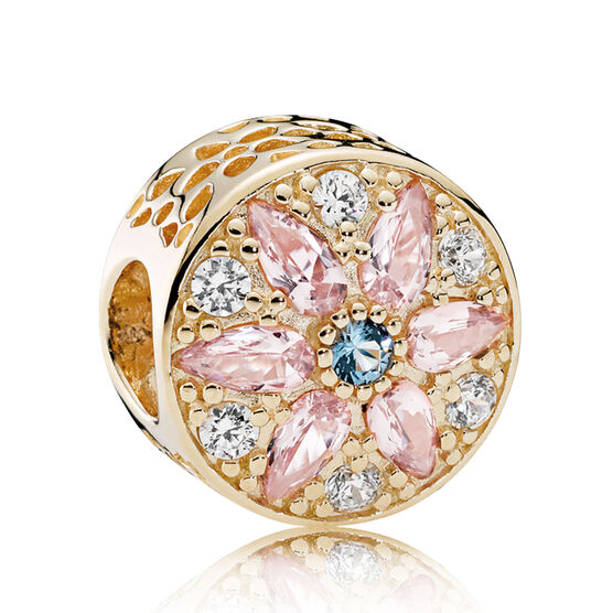 PANDORA Opulent Floral, Crystals & Clear CZ Charm 14K
