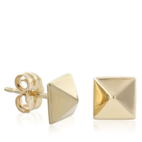 Pyramid Stud Earrings 14K