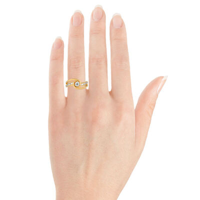 Diamond Wave Bypass Semi-Mount Ring 14K
