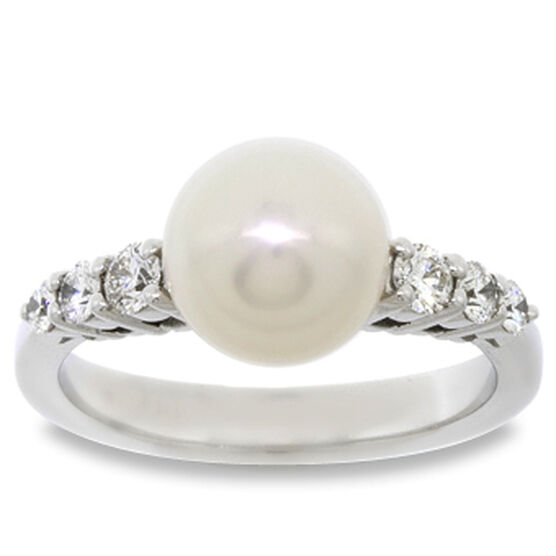 Mikimoto Akoya Cultured Pearl & Diamond Ring 18K