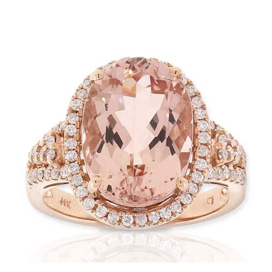 Morganite & Diamond Ring 14Kn Rose