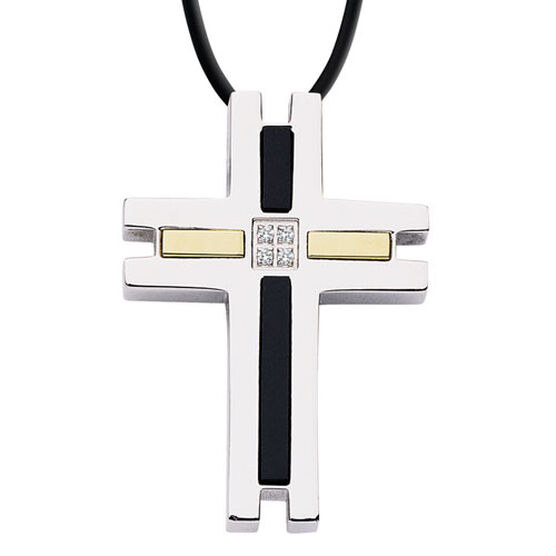 Diamond Cross Pendant in Stainless Steel with Onyx & 18K