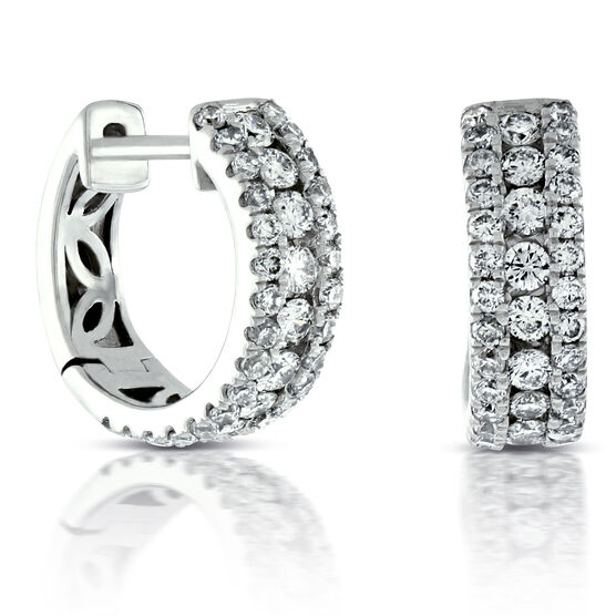 Triple Row Diamond Hoop Earrings 14K, 1 ctw.