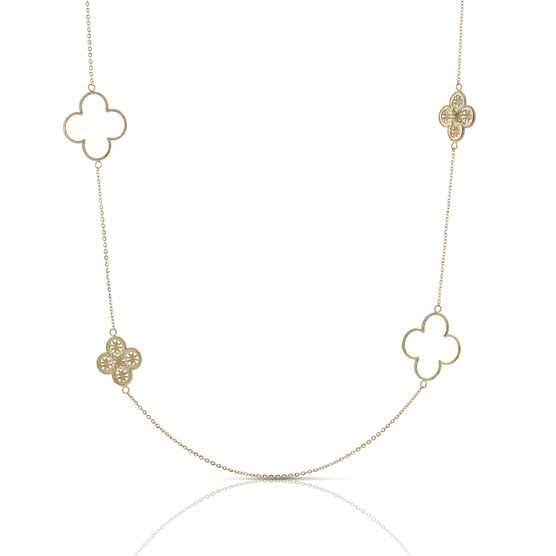 Toscano Collection Clover Station Necklace 18K