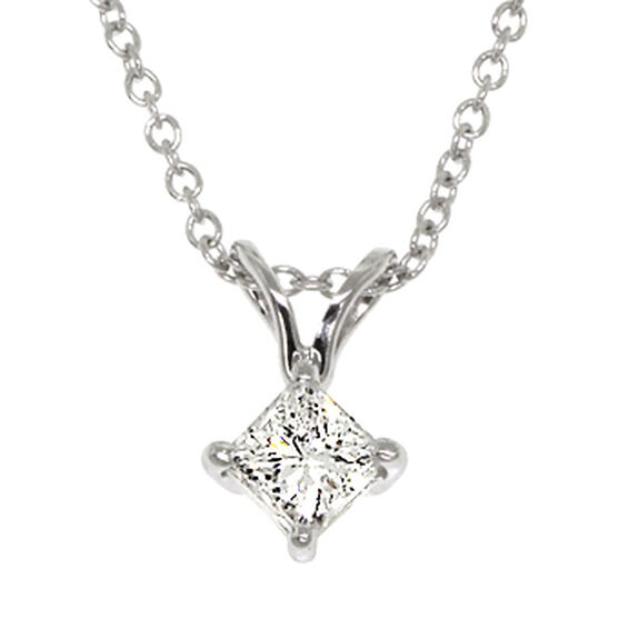 Princess Cut Diamond Pendant 14K, 3/8 ct.
