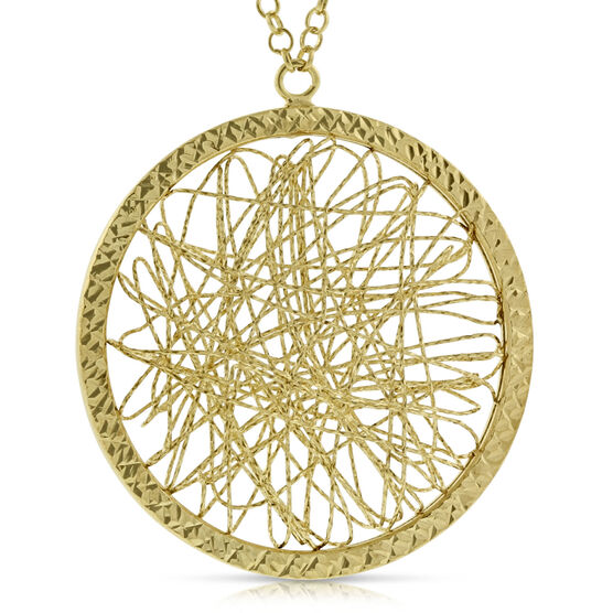 Toscano Webbed Medallion Necklace 14K