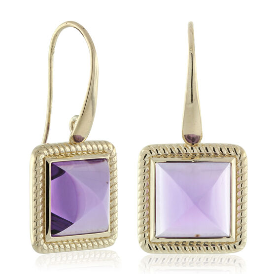 Amethyst Pyramid Rope Bezel Earrings 14K