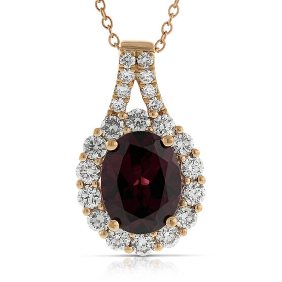Rose Gold Rhodolite Garnet & Diamond Pendant 14K