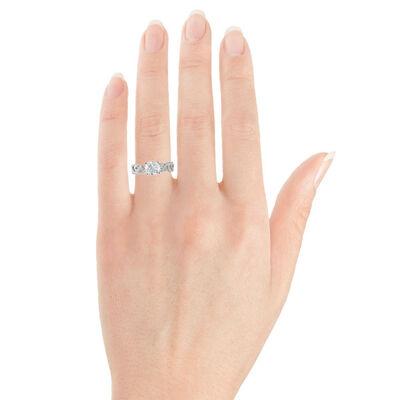Floral Diamond Engagement Ring 14K